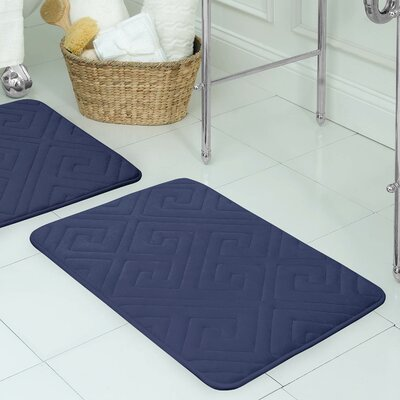 Raney Micro Plush Memory Foam Bath Mat Color: Indigo, Size: 17 L x 24 W