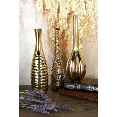 Stoneware Table Vase Set Color: Golden WRLO2016 43228681