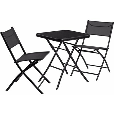 Charney Square Tempered Glass/Metal 3 Piece Bistro Set