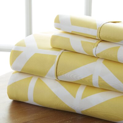 Fiala Chevron Premium Ultra Soft 4 Piece Printed Bed Microfiber Sheet Set Size: King, Color: Yellow