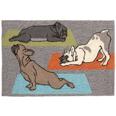 Seavey Yoga Dogs Grey Indoor/Outdoor Area Rug Rug Size: 26 x 4