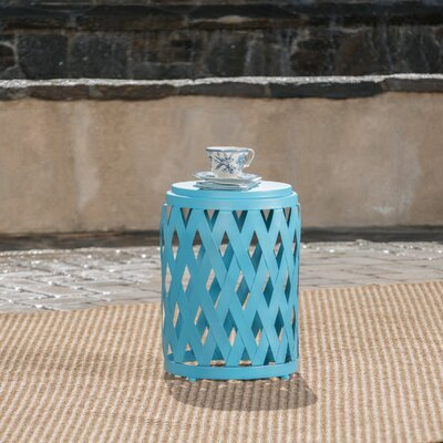 Ramiro Outdoor Iron End Table Color: Blue