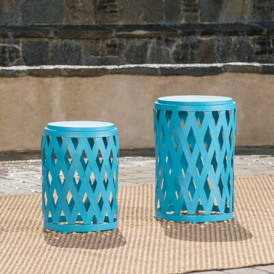 Quinlan 2 Piece Nesting Tables Color: Matte Blue