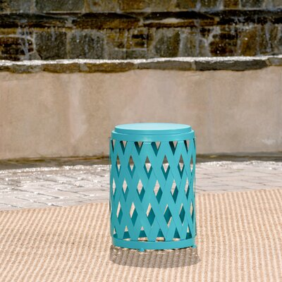 Ramiro Outdoor Iron End Table Color: Teal