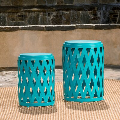 Quinlan 2 Piece Nesting Tables Color: Matte Teal