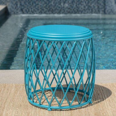 Quigley Outdoor Iron End Table Color: Matte Blue