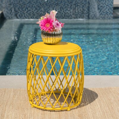 Quigley Outdoor Iron End Table Color: Yellow