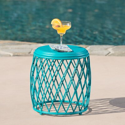 Quigley Outdoor Iron End Table Color: Matte Teal