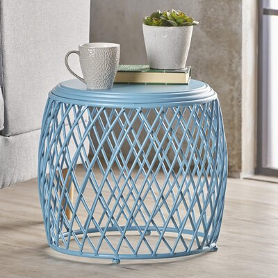 Rand Indoor Iron End Table Color: Blue