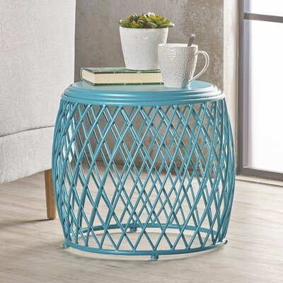 Rand Indoor Iron End Table Color: Teal