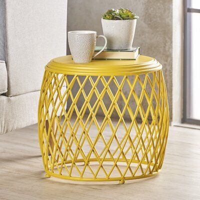 Rand Indoor Iron End Table Color: Yellow