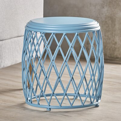 Ranallo Indoor Iron End Table Color: Blue