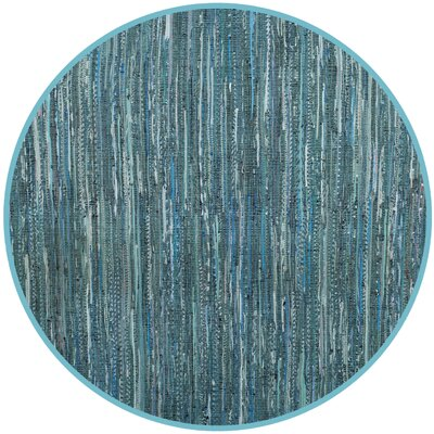 Shatzer Hand-Woven Turquoise Area Rug Rug Size: Round 4