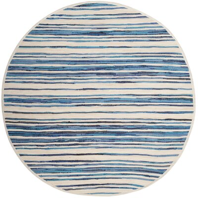 Shinn Hand-Woven Ivory/Blue Area Rug Rug Size: Round 4
