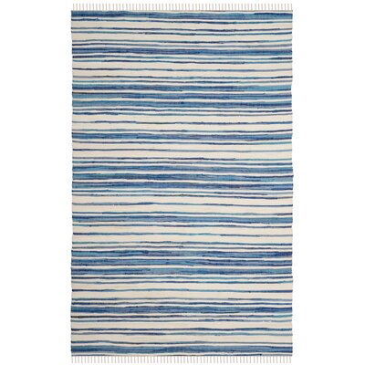 Shinn Hand-Woven Ivory/Blue Area Rug Rug Size: Rectangle 10 x 14