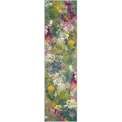 Sharber Green/Pink Area Rug Rug Size: Runner 22 x 12