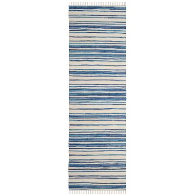 Shinn Hand-Woven Ivory/Blue Area Rug Rug Size: Runner 23 x 10