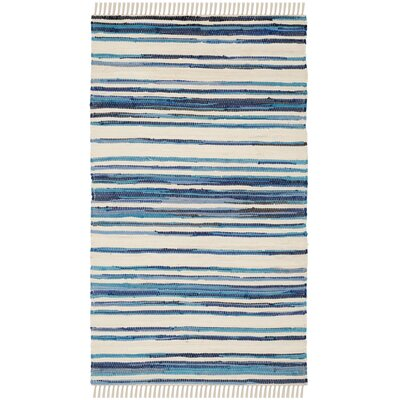 Shinn Hand-Woven Ivory/Blue Area Rug Rug Size: Rectangle 2 x 3