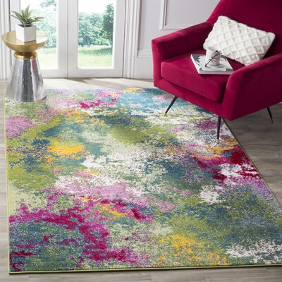 Sharber Green/Pink Area Rug Rug Size: Rectangle 53 x 76
