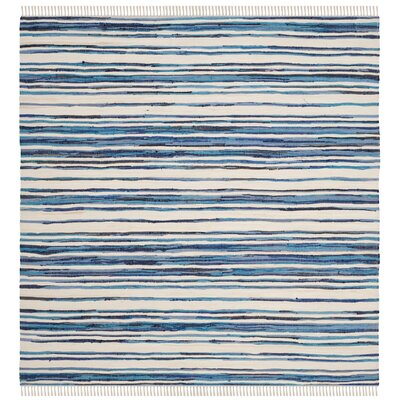 Shinn Hand-Woven Ivory/Blue Area Rug Rug Size: Square 4