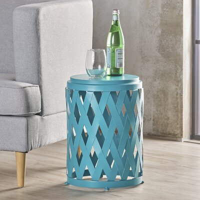 Ramiro Modern Indoor Iron End Table Color: Teal