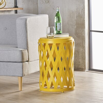 Ramiro Indoor Iron End Table Color: Yellow