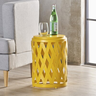 Ramiro Modern Indoor Iron End Table Color: Yellow