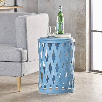 Ramiro Indoor Iron End Table Color: Blue