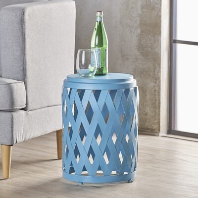 Ramiro Modern Indoor Iron End Table Color: Blue