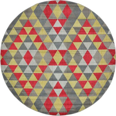 Auyeung Red/Gray Area Rug Rug Size: Round 6