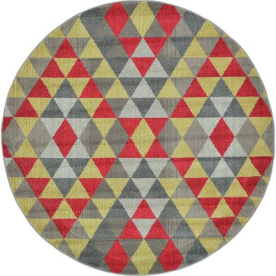 Auyeung Red/Gray Area Rug Rug Size: Round 8