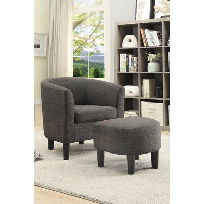 Rhee Dorris Fabric Barrel Chair and Ottoman Upholstery: Ash Black