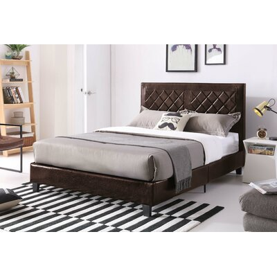 Caudell Upholstered Platform Bed Size: Twin, Color: Brown