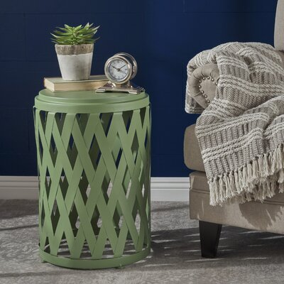 Ramiro Indoor Iron End Table Color: Green