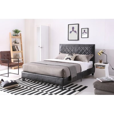 Caudell Upholstered Platform Bed Size: Queen, Color: Black