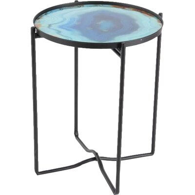 Cirillo Sturdy Iron Glass End Table
