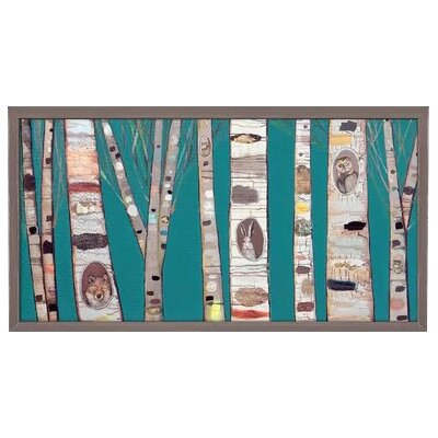 ''Teal Birch Trees' Framed Acrylic Painting Print on Canvas