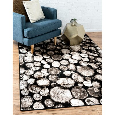 Sidney Black Area Rug Rug Size: Rectangle 9 x 12