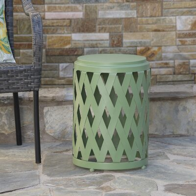 Ramiro Outdoor Iron End Table Color: Green