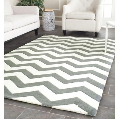 Wilkin Hand-Tufted Wool Dark Gray/Ivory Chevron Area Rug Rug Size: Rectangle 5' x 8'