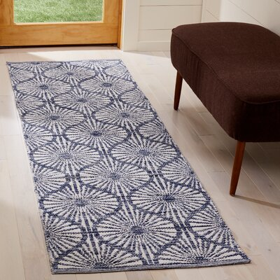 Oak Hill Hand-Woven Navy/Ivory Area Rug Rug Size: Runner 23 x 7
