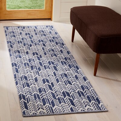 Paz Hand-Woven Navy/Ivory Area Rug Rug Size: Runner 23 x 7