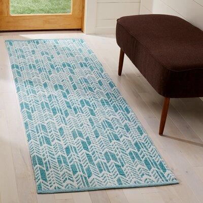 Legaspi Hand-Woven Aqua/Ivory Area Rug Rug Size: Runner 23 x 7