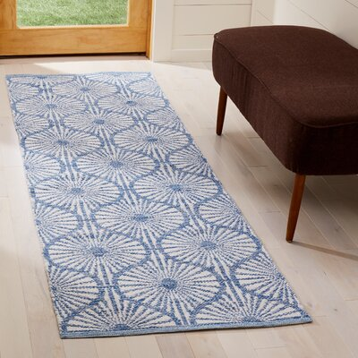 Oak Hill Hand-Woven Blue/Ivory Area Rug Rug Size: Runner 23 x 7