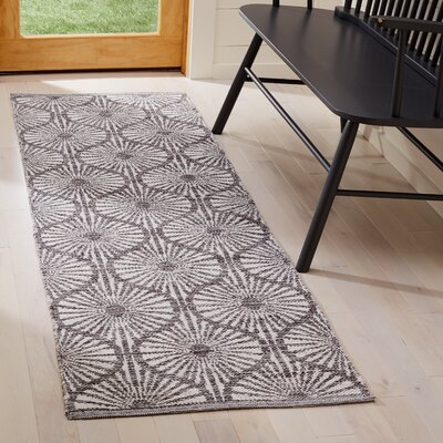 Oak Hill Hand-Woven Charcoal/Ivory Area Rug Rug Size: Runner 23 x 7