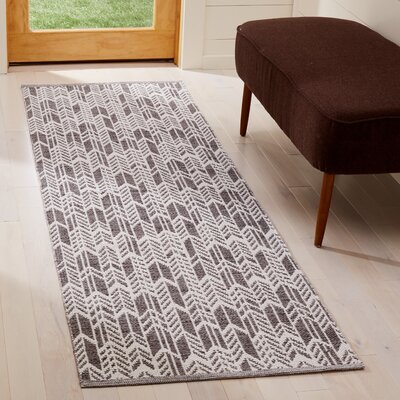 Paz Hand-Woven Charcoal/Ivory Area Rug Rug Size: Runner 23 x 7