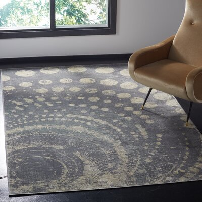 Stave Light Gray Area Rug Rug Size: Rectangle 53 x 76