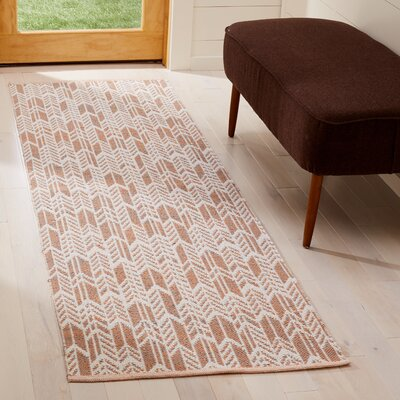 Paz Hand-Woven Orange/Ivory Area Rug Rug Size: Runner 23 x 7