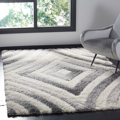Adamski Cream/Gray Area Rug Rug Size: Rectangle 4 x 6