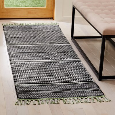 Granada Hand-Woven Green/Gray Area Rug Rug Size: Runner 23 x 7